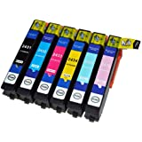 6x Compatible T2438, SET FOR EPSON 24LX High Capacity XL Ink Cartridges For EPSON Expression Premium XP-750, XP-850 Inkjet Printers FOR 24 (ELEPHANT) SERIES. T2431 T2432 T2433 T2434 T2435 T 2436 With chip installed and will show ink levels.
