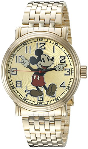 Disney Mickey Mouse Men's W002413 Mickey Mouse Analog Display Analog Quartz Gold Watch 0