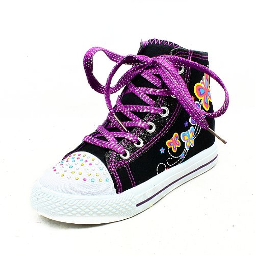 Girls Black Purple Butterfly Diamonte Detail Lace Up Ankle Pumps New