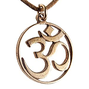 Delicate Om Pendant Necklace on Adjustable Natural Fiber Cord