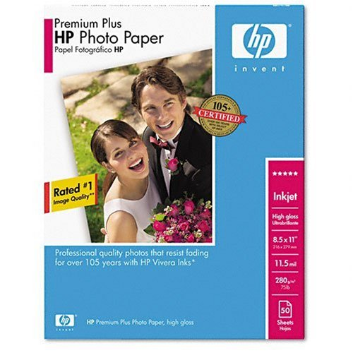 HP Premium Plus Photo Paper, High Gloss (50 Sheets, 8.5 x 11 Inches)