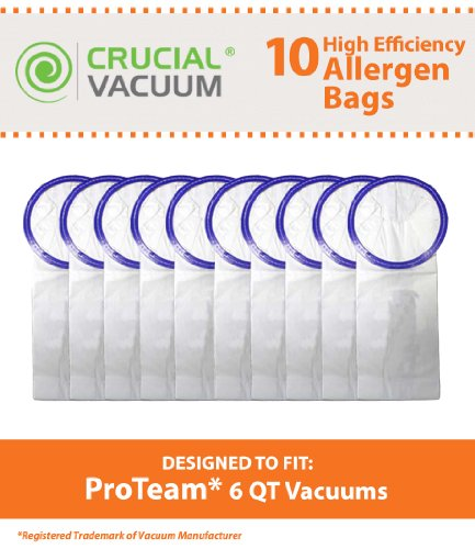 10 Proteam Windsor Raven 6 Qt Commercial Pack Vacuum Bags Designed To Fit Proteam Windsor Raven 6 Quart Commercial Backpack Vacuums; Compare To Part # 100431; Designed & Engineered By Crucial Vacuum