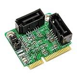 PM1061R v1.0 : RAID対応ブートROM搭載PCI Express X1 Gen2 接続ハーフサイズMiniCard (mPCIe) - 2ポートSATA3アダプタ ver1.0  Mini PCIeスロットにRAID対応2ポートSATA3を追加するアダプタ。PCIeはGen2 / 5Gbps、SATAはSATA3 / 6Gbpsに対応。基板上のジャンパ端子でRAIDモード (AHCI, RAID0, RAID1, SPAN)の設定が可能。mPCIeスロットは、ハーフおよびフルサイズの両対応。OS標準AHCIドライバを使用可能。ECLINKおよびユニ・ブリッジ取扱品はビープラス・テクノロジー / Bplus Technology経由の純正品・正規品です。