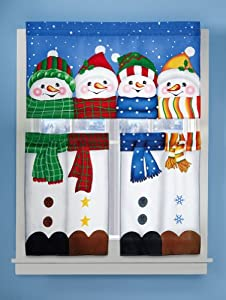 winter pals snowman cafe curtain set shower curtains. Black Bedroom Furniture Sets. Home Design Ideas
