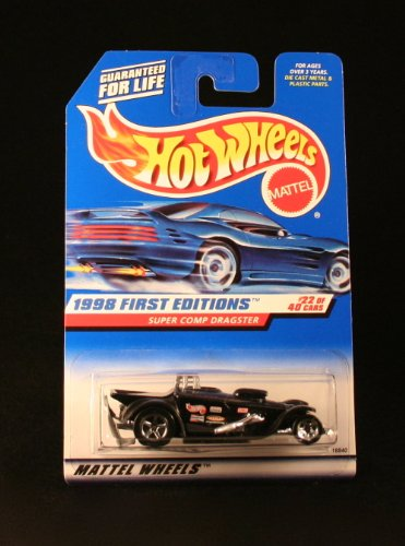SUPER COMP DRAGSTER * BLACK * 1998 FIRST EDITIONS SERIES #22 of 40 HOT WHEELS Basic Car 1:64 Scale Series * Collector #655 *