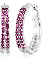 Sterling Silver Created Ruby Hoop Earrings