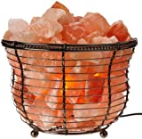 WBM 1301B Natural Himalayan Basket Salt Lamp with Bulb and Dimmer Switch