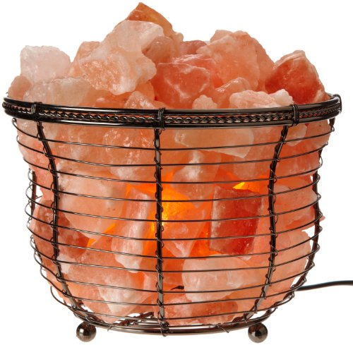 Natural Air Purifying Himalayan Salt Lamp with Salt Chunks, Bulb and Dimmer Control, Round Basket Style