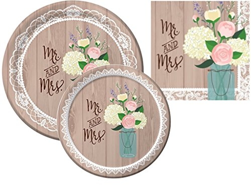 Rustic Wedding Bridal Shower Plates and Napkins Party Pack for 16