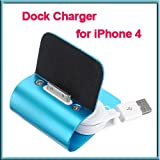 Blue Aluminum Desk Dock Cradle Station Stand Charger + USB sync Cable for iPhone 4S 4