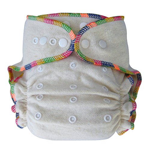 Night Fitted Cloth Diaper with 2 Inserts One-Size 7-30 Lb - Hemp /Organic Cotton - 1
