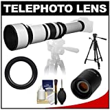 Samyang 650-1300mm f/8-16 Telephoto Lens (White) with 2x Teleconverter (=650-2600mm) + 58″ Tripod Kit for Pentax K-30, K-7, K-5, K-01, K-R Digital SLR Cameras