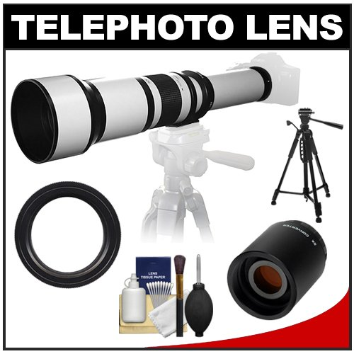 "Samyang 650-1300Mm F/8-16 Telephoto Lens (White) With 2X Teleconverter (=650-2600Mm) + 58"" Tripod Kit Ffor Sony Alpha Dslr Slt-A35, A37, A55, A57, A65, A77 Digital Slr Cameras"