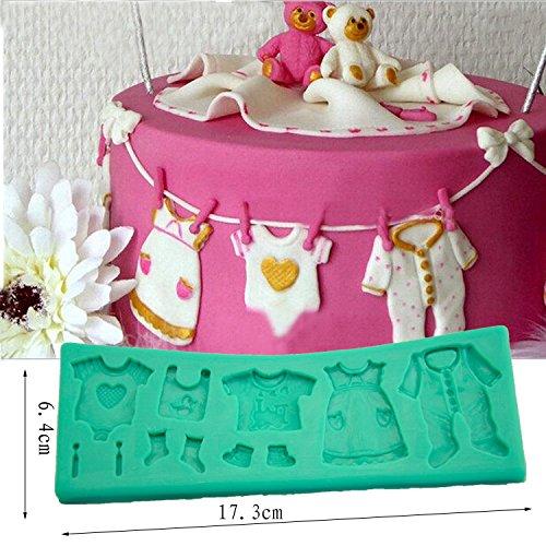 tangchu Fondant Gâteau dentelle moisissure linge vêtements pour bébé en silicone Moules gâteau Décoration 17,3x 6,4x 0,8cm Vert