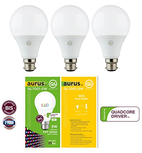 QUADRALUMEN QL7001 5 W LED Bulb (Warm White, Pack Of 3)