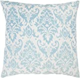 Rizzy Home T-3594 Decorative Pillows, 18 by 18-Inch, Aqua/Off White, Set of 2