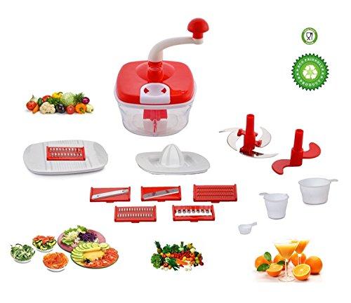 Jony 10_in_1_Red Manual Food Processor (Red) by A TO Z Sales-AZ5021