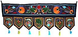 Cotton Home Decorative Wall Hanging, Home Decor Door Hanging, Wall Decor Toran Window Valances Size 39 x 14\