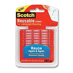 Scotch Restickable Strips, 1 x 3 Inches, 6 Strips, 2-PACK