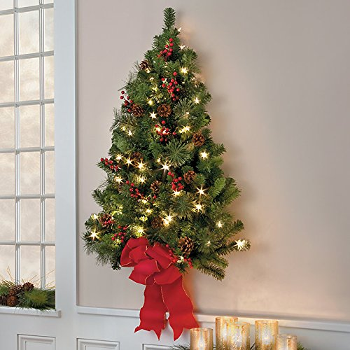 Pre Lit Half Christmas Tree: Flat Back Christmas Tree Wall Mounted Half Christmas