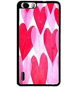 ColourCraft Love Hearts Design Back Case Cover for HUAWEI HONOR 6