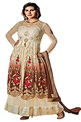 Justkartit Women's Multi Color Floral Embroidery Georgette & Net Wedding Wear Gown (Engagement Wear Gown) (New year Collection)