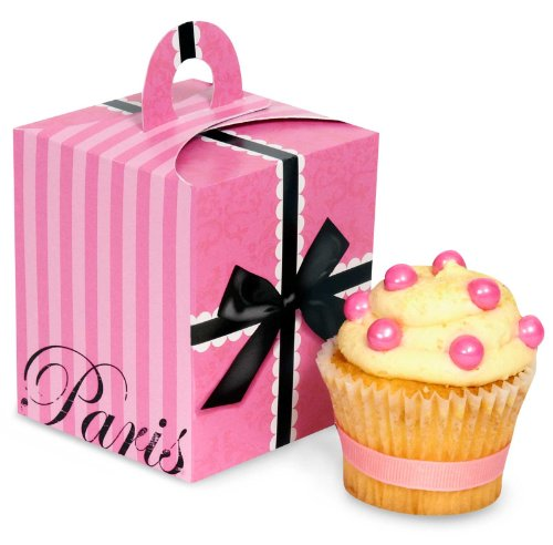 Paris Eiffel Tower Damask Party Supplies - Cupcake Boxes (4) (Baking Party Theme compare prices)