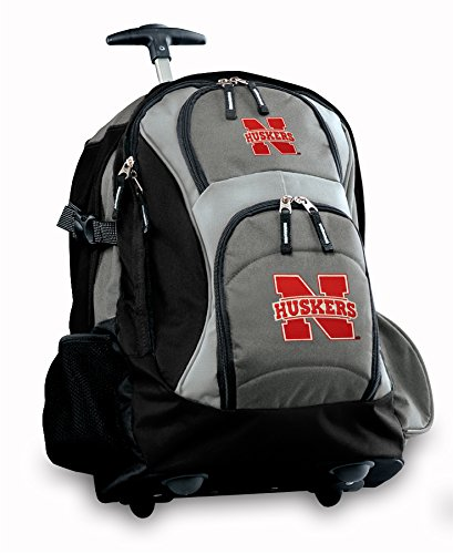 University Of Nebraska Rolling Backpack Deluxe Gray Cornhuskers Best Backpacks