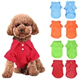 KingMas 4Pc Pet Dog Puppy Polo T-Shirt Clothes Outfit Apparel Coats Tops - Size:Medium
