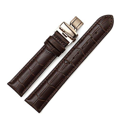 Istrap 22Mm Genuine Calf Leather Alligator Pattern Deployant Watch Band - Brown 22