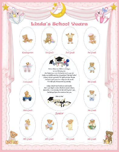 16 X 20 Size Personalized Keepsake Girl Name Pink Curtain Border My School Years Picture Photo Mat With Teddy Bear Illustration And Poem Verse As Birthday, Baby Shower Or Nursery Newborn Gifts