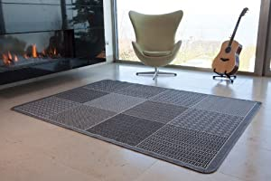 Thin Contemporary Grey Checkered Squares Anti Creep Flat Weave Rugs 019 13 Panama - 9 Sizes Available by The Rug House
