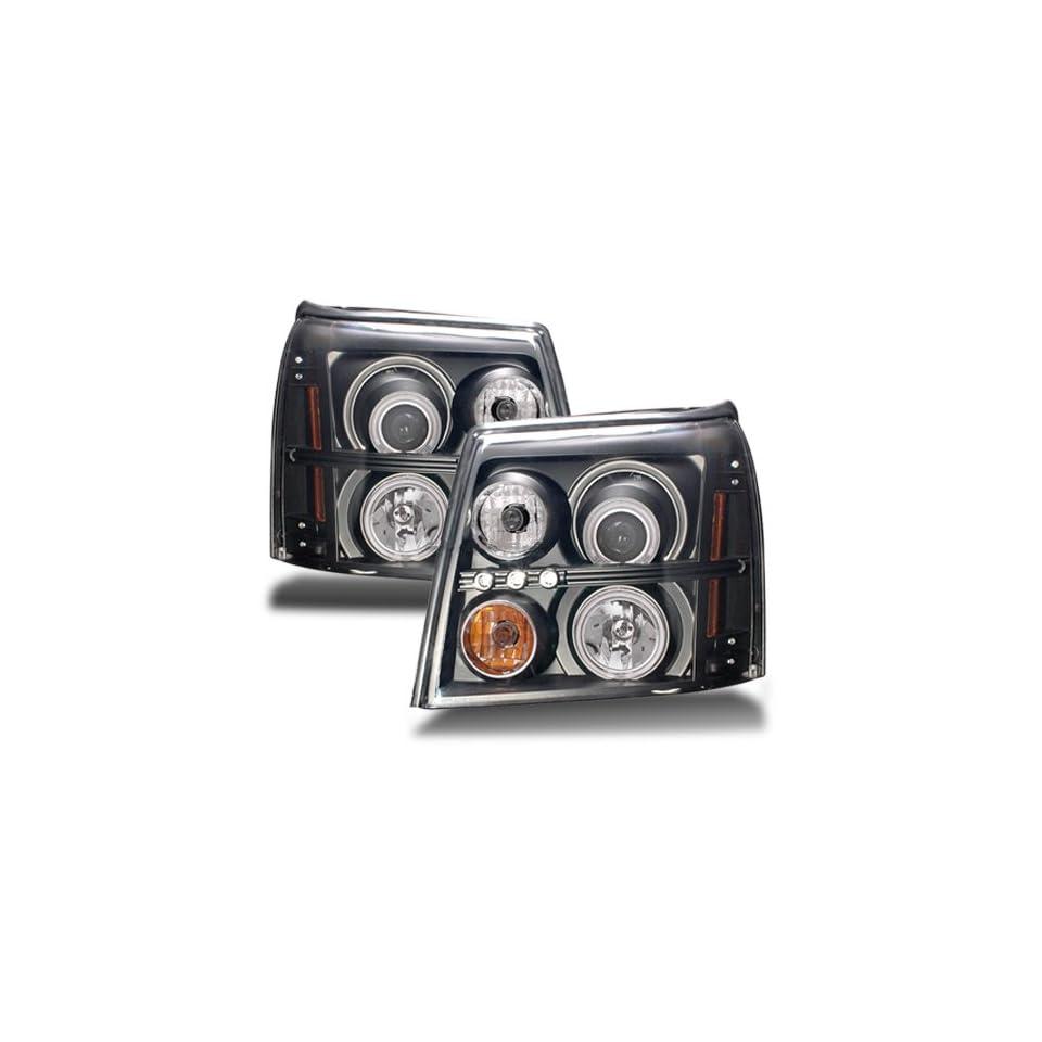 Cadillac Escalade ESV Black CCFL Halo Projector Headlights /w Amber (HID Compatible)