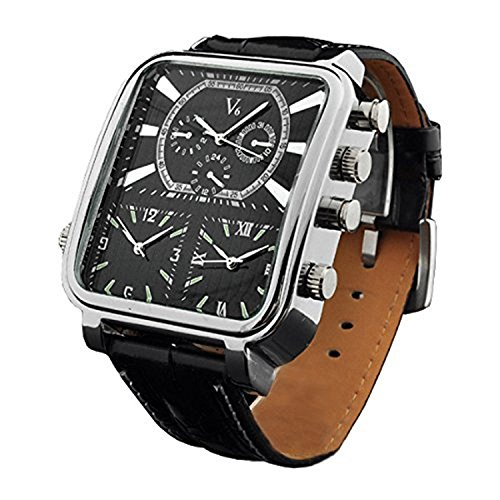V6-Mens-Quartz-Analog-Watch-Silver-Square-Case-with-3-Time-Zones-and-Black-Band