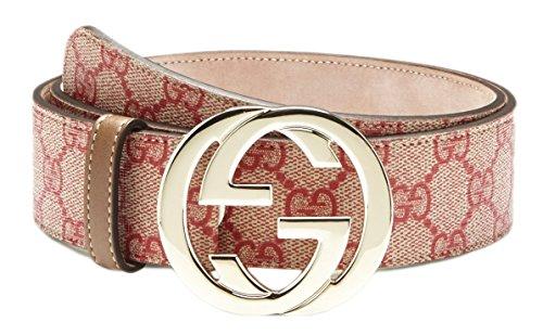 Gucci Supreme Canvas Bi-color Interlocking G Belt, Beige/red 34-36 US (UK 90) 114876
