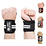 Bear Grip - High quality Premium weight lifting wrist support wraps, secure velcro design, One size fits all (Black, 18 IN)