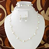 14k Yellow Gold + White Simulated Opal Bead Necklace, Bracelet, Earrings Set