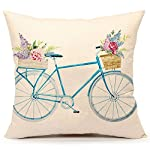 Watercolor Retro Bicycle and Flowers Vintage Home Decor Design Throw Pillow Case 18 x 18 Inch Cotton Linen for Sofa (blue)