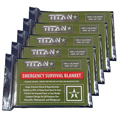 TITAN Two-Sided Emergency Mylar Survival Blankets (5-Pack), Olive-Drab / Military Green | Designed for Space Exploration. Thermal Blankets are Perfect for Marathons, Emergency Kits, and Go-Bags. (Army Car Shade compare prices)