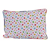 Homescapes - 100% Cotton - Stars - Filled Cushion - 30 x 50 cm Rectangular - 12 x 20 Inches - Multi Colour Orange Red Blue Yellow - 100% Cotton - Cover Well Filled Pad - Washableby Homescapes