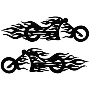 Motorcycle Flame Mirror Tribal Decal Vinyl Car Wall Laptop Cellphone Sticker