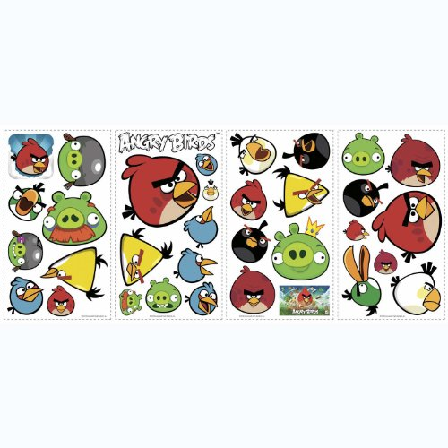 Roommates rmk1794scs angry birds peel and stick wall for Angry birds wall mural