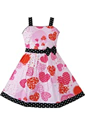 Sunny Fashion Girls Pink Heart Print Bow Tie Party Sundress