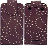 Diamante Flip Case Cover Skin For Blackberry Curve 9350 9360 9370 / Purple