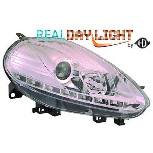 phares design, set PUNTO, 09 cristal/chrome avec vrais feux diurnes H7/H1, avec moteur homologation R87 avec variateur