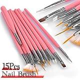 Leegoal 15pc Nail Art Design Dotting Brush Painting Pen Tool Set Pink Stick DIY Fit Tips