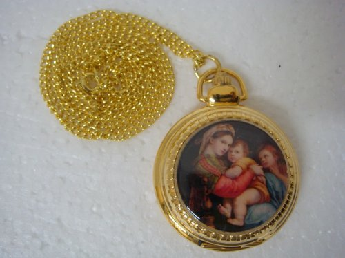Round Shape Quartz Watch Pendent with Mary & Jesuss Picture- 92997