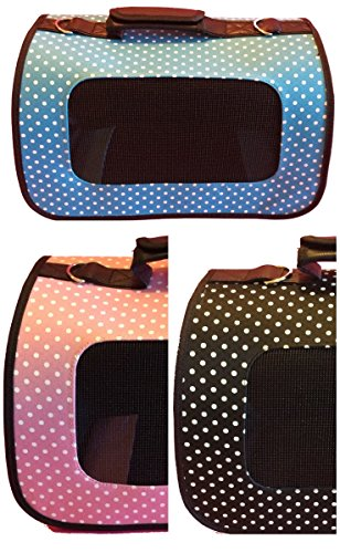 Pet Carrier – Soft Sided (Blue Polka Dot) VARIOUS COLORS & SIZES