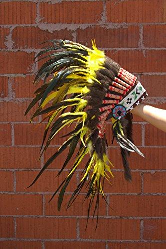 Tribal Costume Sh001 Short Headdress 30 Inches Long, Yellow