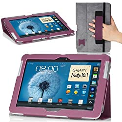 MoKo Slim Cover Case for Samsung Galaxy Note 10.1 N8000 N8010 N8013 Tablet Purple (with Flip Stand and Integrated Elastic Hand Strap)